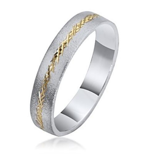 14k Gold Two Tone Florentine Wedding Ring - Baltinester Jewelry