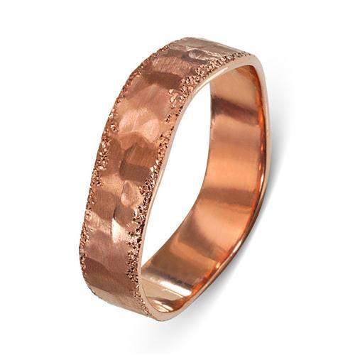 14k Rose Gold Wavy Diamond-Cut Hammered Wedding Ring - Baltinester Jewelry