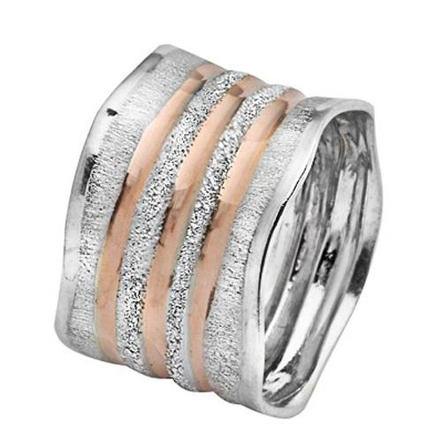 White and Rose Gold Wave Striped Wedding Ring - Baltinester Jewelry