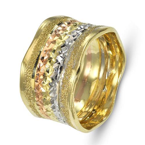 14k Gold Wavy Multicolored Wedding Band - Baltinester Jewelry