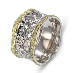 14k White Gold Faceted Wedding Ring - Baltinester Jewelry