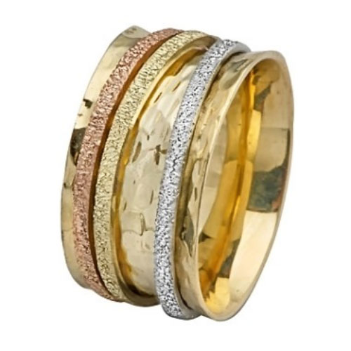 Tri-Color Gold Spinning Wedding Ring - Baltinester Jewelry