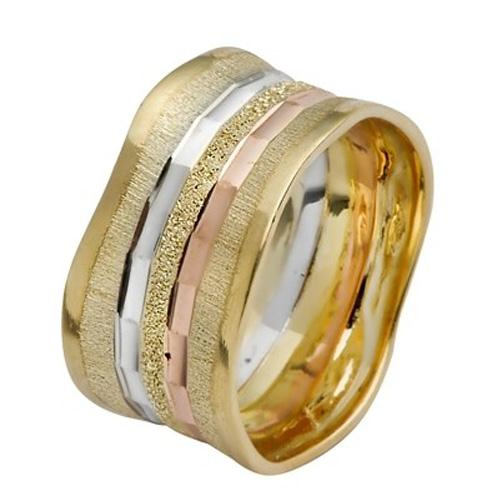 Tri-Color Gold Stripes Wavy Wedding Ring - Baltinester Jewelry