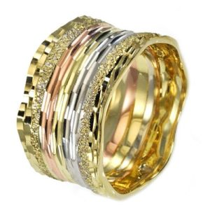 14k Gold Tricolor Textured Wide Wedding Ring - Baltinester Jewelry