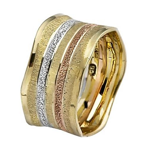 Tri-Color Gold Stripes Wavy Wide Wedding Ring - Baltinester Jewelry