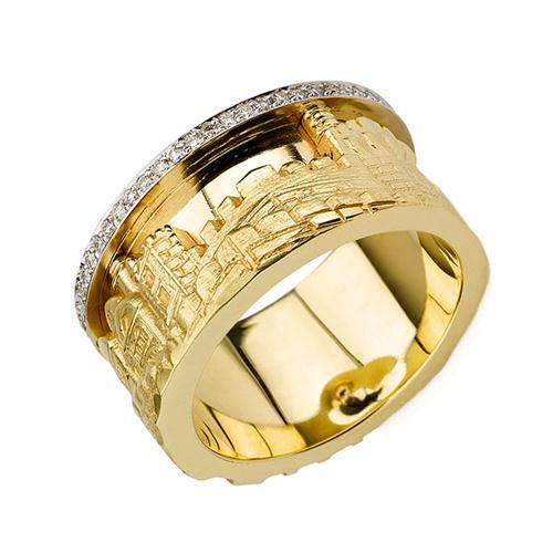14k Gold 3D Jerusalem Diamond Ring - Baltinester Jewelry