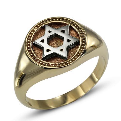 Star of David 14k Yellow and White Gold Ring - Baltinester Jewelry