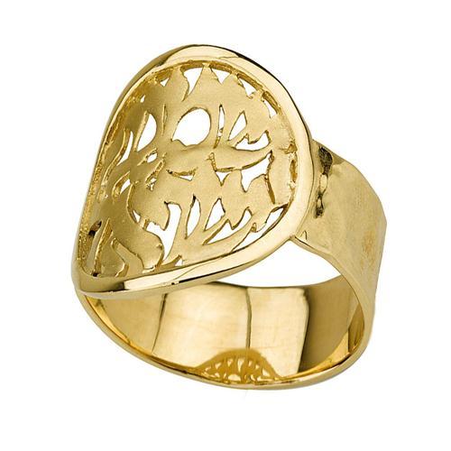 14k Gold Round Shema Yisrael Ring - Baltinester Jewelry