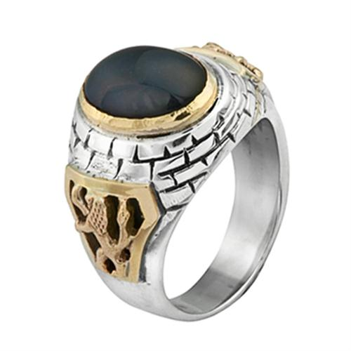 Silver and Gold Lion of Judah Black Onyx Ring - Baltinester Jewelry