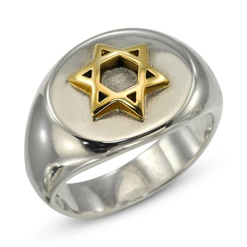 Silver and Gold Star of David Jewish Ring - Baltinester Jewelry