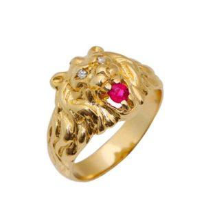 Diamond 14k Yellow Gold Lion of Judah Ruby Ring - Baltinester Jewelry