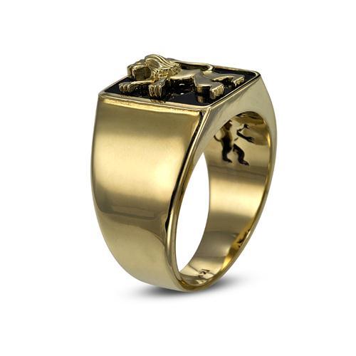 14k Lion of Judah Signet Onyx Ring 2 - Baltinester Jewelry