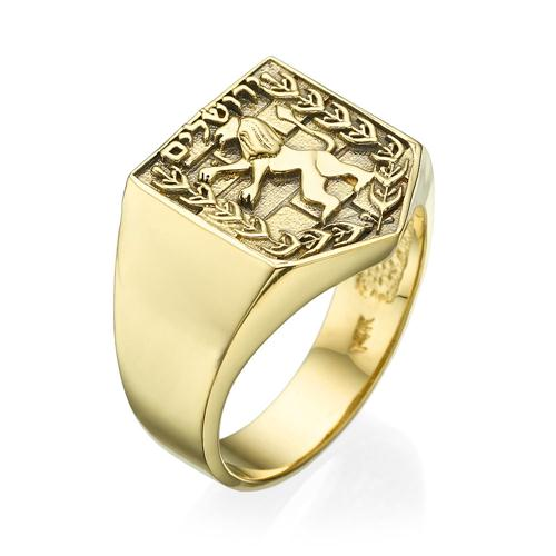Emblem of Jerusalem Signet Ring in 14K Yellow Gold - Baltinester Jewelry