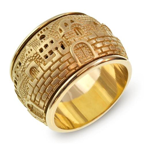 Gold 3D Jerusalem Spinning Ring 2 - Baltinester Jewelry