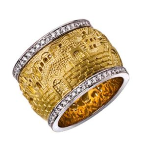 14k Gold Diamond Jerusalem Spinning Ring - Baltinester Jewelry