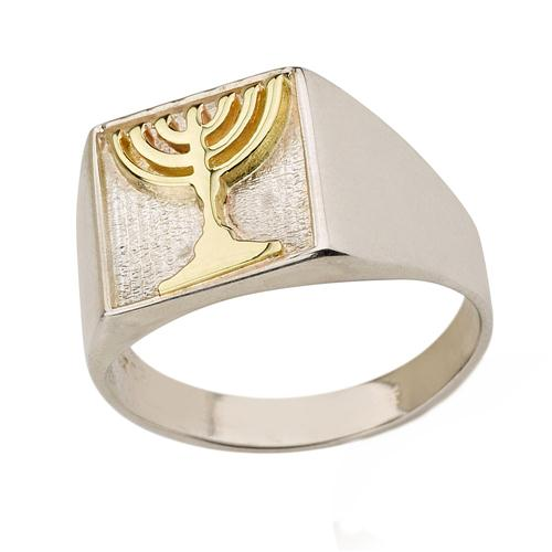 Sterling Silver and Gold Menorah Jewish Ring - Baltinester Jewelry