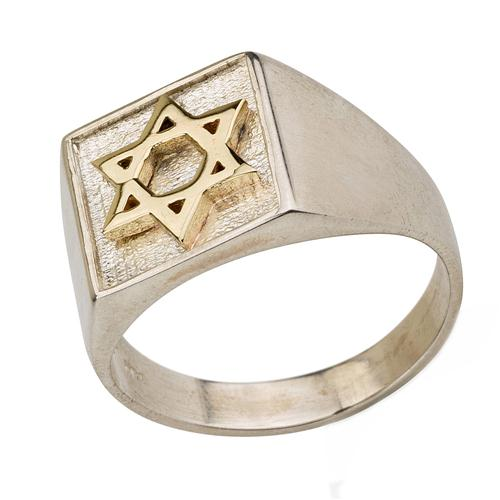Sterling Silver and Gold Star of David Jewish Ring - Baltinester Jewelry