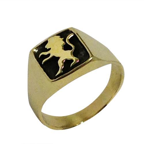 14k Yellow Gold and Black Rhodium Lion of Judah Signet Ring - Baltinester Jewelry