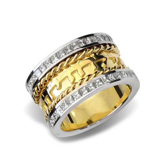 18k Gold Diamond Spiral Jewish Wedding Ring - Baltinester Jewelry