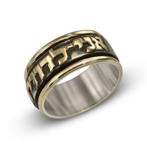 Blackened Sterling Silver and 14k Gold Spinner Wedding Band - Baltinester Jewelry
