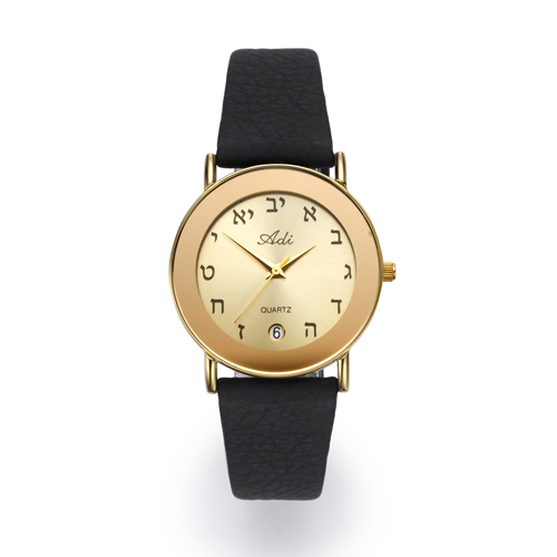 32 mm Date Aleph Bet Black Leather Strap Watch - Baltinester Jewelry