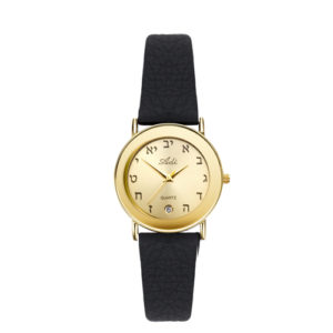Aleph Bet 24 mm Date Black Leather Strap Watch - Baltinester Jewelry
