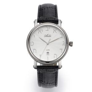 35 mm Date Black Leather Strap Watch Bezel Detailing - Baltinester Jewelry