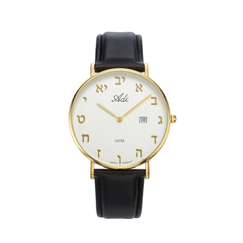 Classic Black Leather Strap 40 mm Aleph Bet Watch - Baltinester Jewelry