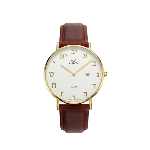 Gold Face Classic Aleph Bet Men Watch Date Brown Leather Strap - Baltinester Jewelry