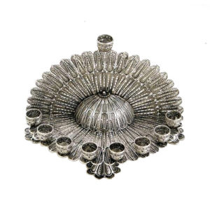 Sterling Silver Round Filigree Hanukkah Menorah - Baltinester Jewelry