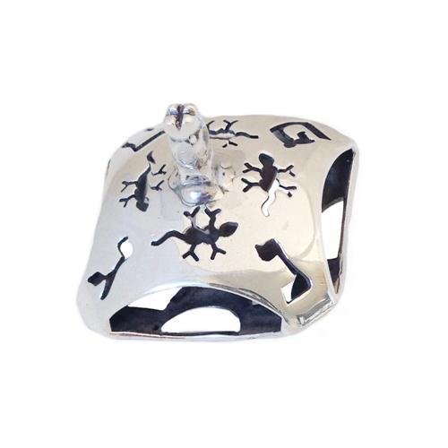 Sterling Silver Lizard Puffy Hanukkah Dreidel 2 - Baltinester Jewelry