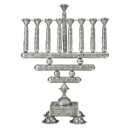 Sterling Silver Filigree Square Hanukkah Menorah - Baltinester Jewelry