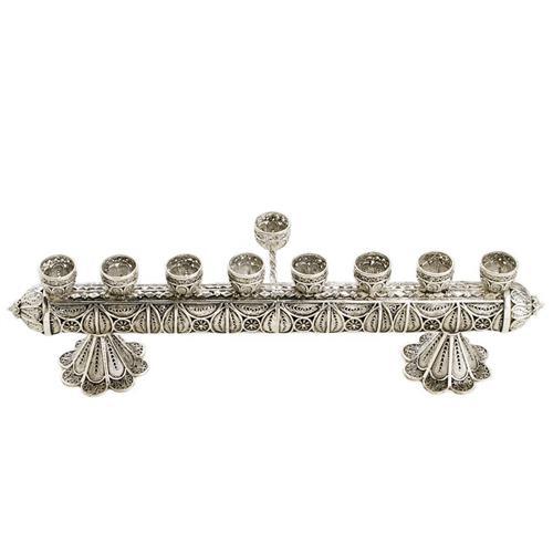 Sterling Silver Filigree Horizontal Hanukkah Menorah - Baltinester Jewelry