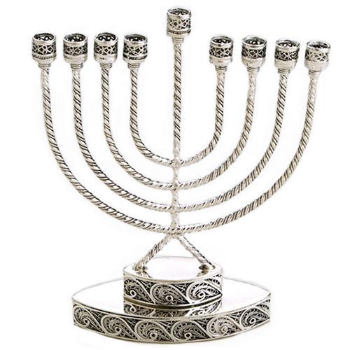 Sterling Silver Filigree Small Hanukkah Menorah - Baltinester Jewelry