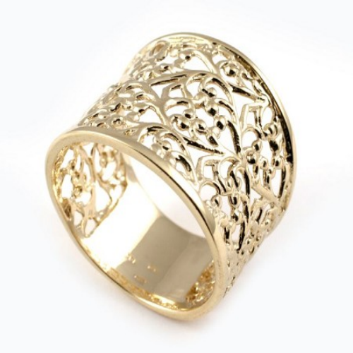 14k Yellow Gold Wide Filigree Ring - Baltinester Jewelry
