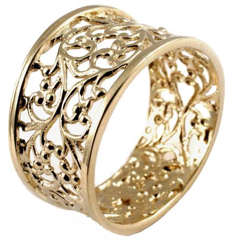 14k Yellow Gold Filigree Ring - Baltinester Jewelry