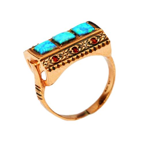 14k Rose Gold Garnet and Opal Rectangular Ring - Baltinester Jewelry