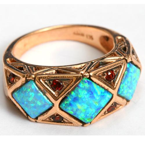 14k Rose Gold Opal and Garnet Triangular Ring 2 - Baltinester Jewelry