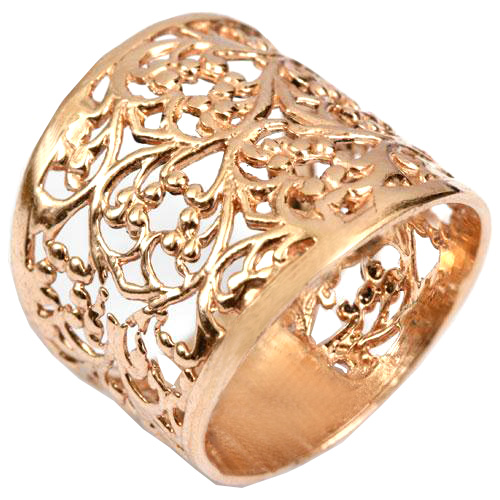14k Rose Gold Wide Filigree Ring - Baltinester Jewelry