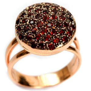 14k Rose Gold Round Garnet Ring For Her - Baltinester Jewelry