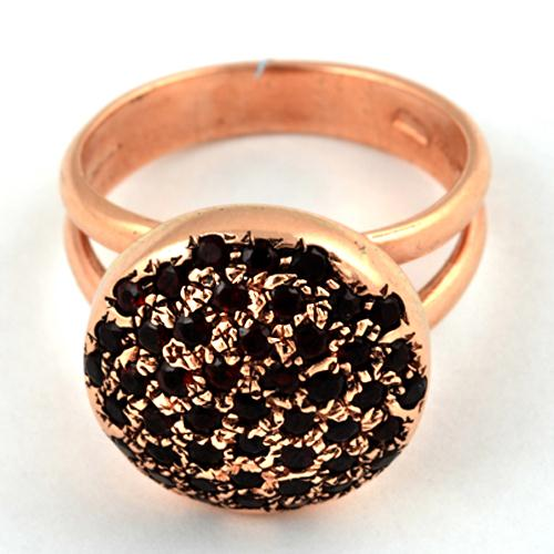 14k Rose Gold Round Garnet Ring For Her 3 - Baltinester Jewelry