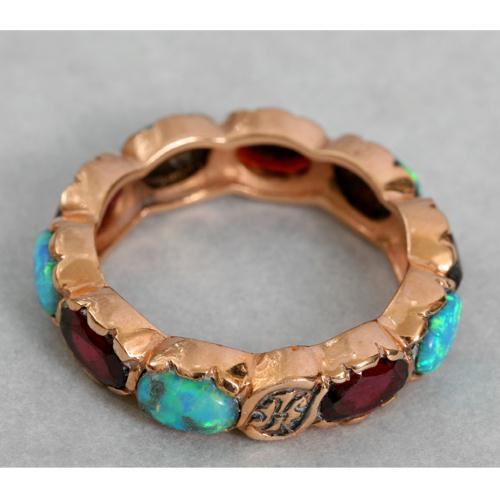 14k Rose Gold Garnet and Opal Eternity Ring 2 - Baltinester Jewelry