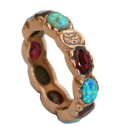 14k Rose Gold Garnet and Opal Eternity Ring - Baltinester Jewelry