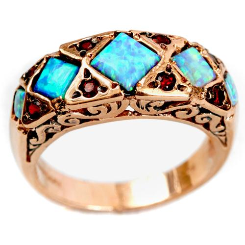 14k Rose Gold Opal and Garnet Ring - Baltinester Jewelry