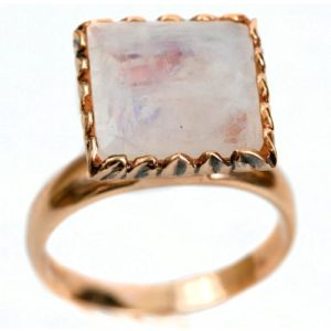 14k Rose Gold Moonstone Square Cocktail Ring - Baltinester Jewelry