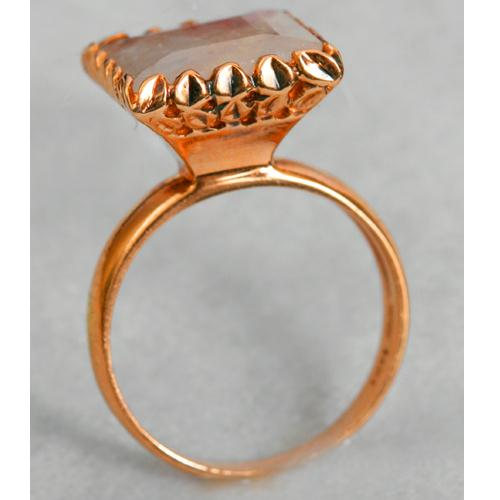 14k Rose Gold Moonstone Square Cocktail Ring 2 - Baltinester Jewelry