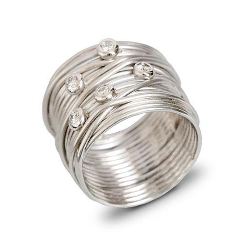 14k White Gold and Diamond Wire Ring - Baltinester Jewelry