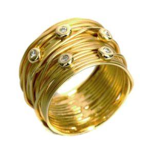 Yellow Gold Wire Diamond Ring - Baltinester Jewelry