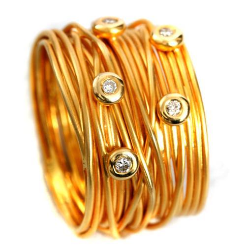 Yellow Gold Wire Diamond Ring 2 - Baltinester Jewelry