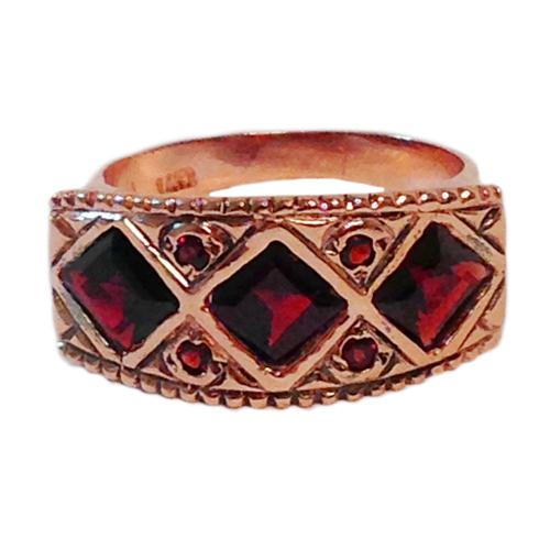 14k Rose Gold Rhombus Garnet Ring 3 - Baltinester Jewelry